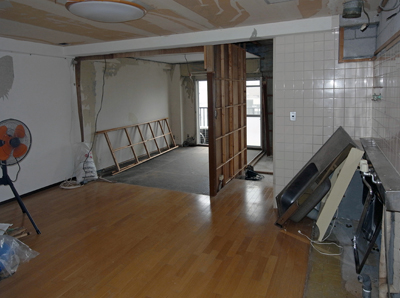 何も考えられておらず、10帖のダイニングキッチンと6帖の和室が分かれていました